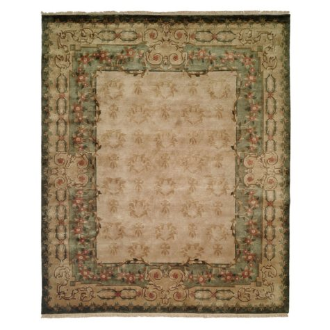 Riviera Collection Handwoven Premium Wool Area Rug, Ivory and Green (Assorted Sizes)