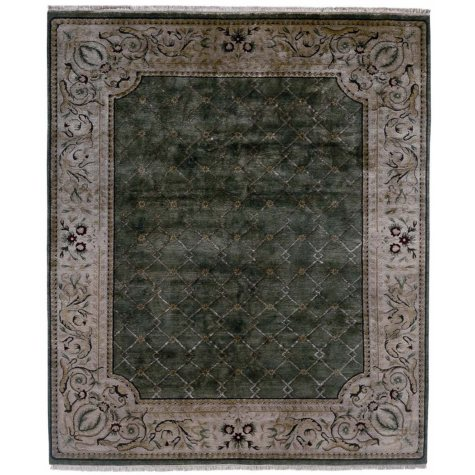 Riviera Collection Handwoven Premium Wool Area Rug, Green and Ivory (Assorted Sizes)