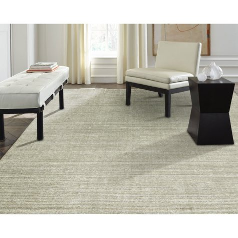 Terra Collection Handmade Wool & Silkette Area Rug, Nickel