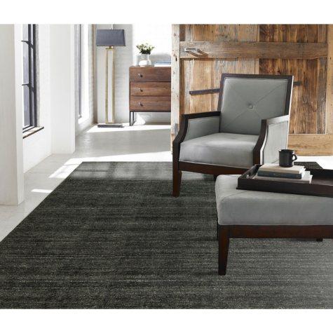 Terra Collection Handmade Wool & Silkette Area Rug, Graphite