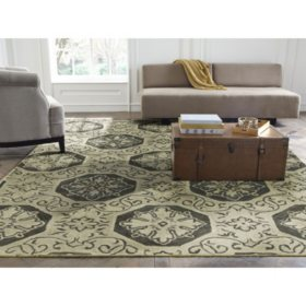 Seville Collection Handtufted Wool & Silkette Area Rug, Beige & Gray