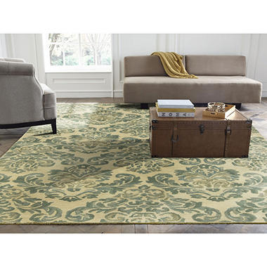Seville Collection Handtufted Wool & Silkette Area Rug, Beige & Jade
