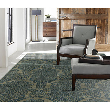Seville Collection Handtufted Wool & Silkette Area Rug, Damask Blue