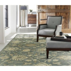 Seville Collection Handtufted Wool & Silkette Area Rug, Mineral Blue
