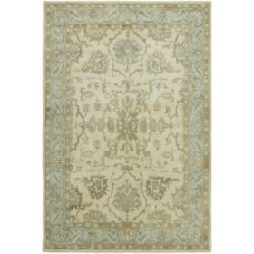 Seville Collection Handtufted Wool & Silkette Area Rug, Beige & Blue