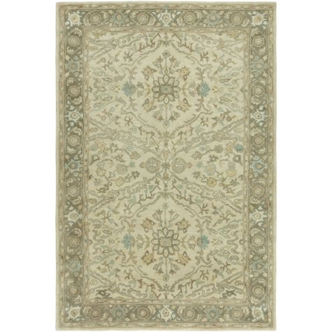 Seville Collection Handtufted Wool & Silkette Area Rug, Beige & Earth