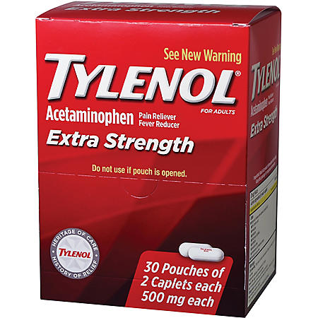 Tylenol Extra Strength, 500mg (30 pouches, 2 caplets each)