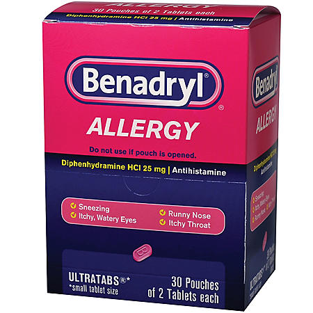 Benadryl, 25mg (30 pouches, 2 caplets each)
