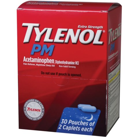 Tylenol Extra Strength PM, 500mg (30 pouches, 2 caplets each)