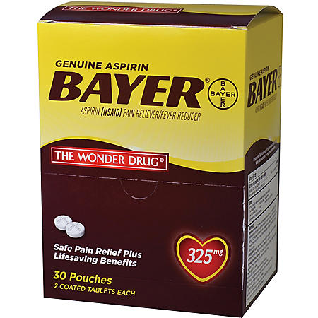 Bayer Aspirin, 325mg (30 pouches, 2 caplets each)