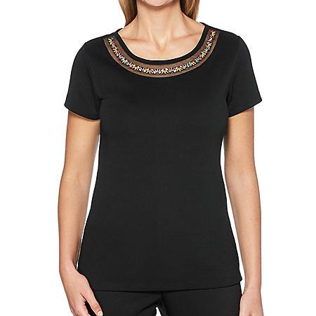 Rafaella Ladies Embellished Short Sleeve Shirt