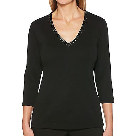 Rafaella Embellished V-Neck 3/4 Sleeve Top