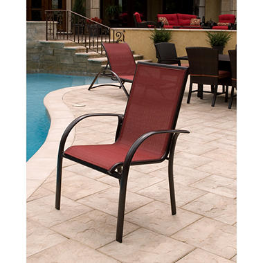 Aluminum Sling Stack Chair   Red