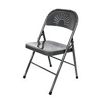 4-Pack Shin Crest Decorative Metal Folding Chair (Gray)