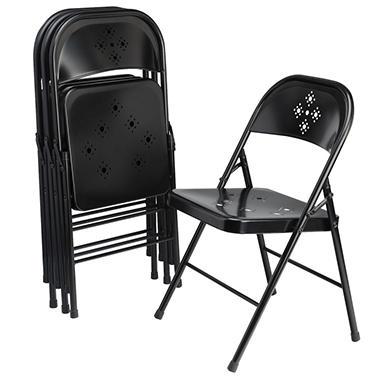 Shin Crest Decorative Metal Folding Chair, Black