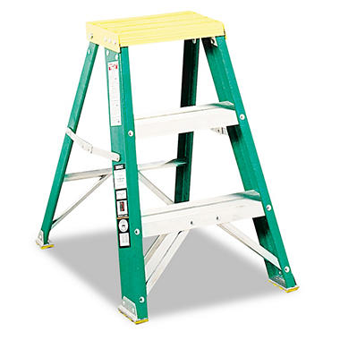 Davidson Folding Fiberglass & Aluminum 2-Step Stool, Locking,17x22x24