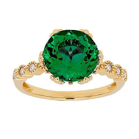 LAB EMERALD RING .11TW DIAMOND-14KY