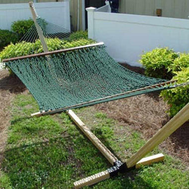 "Deluxe Green Polyester Rope Hammock - 60"" x 80"""