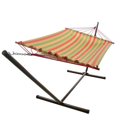 Garden Stripe Fabric Hammock and Stand Combo