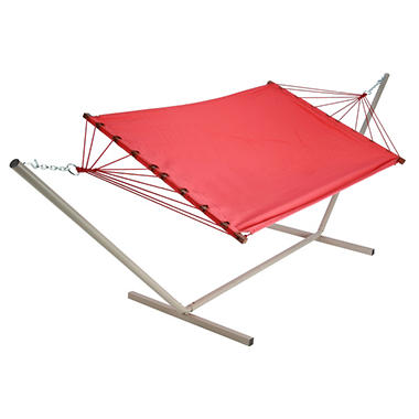 Salmon Fabric Hammock and Stand Combo