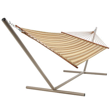 Neutral Stripe Quilted Hammock