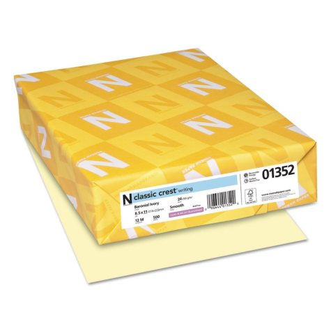 Neenah Paper - Classic Crest Fine Paper, 24lb, Baronial Ivory - Ream