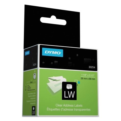 DYMO LabelWriter - 30254 Address Labels, Clear - 130 Labels