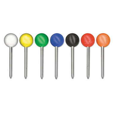 Gem Map Tacks, Plastic, Assorted Colors, 3/8