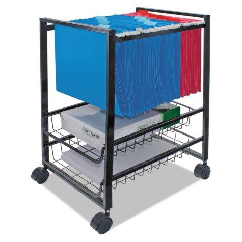 Advantus Mobile File Cart with Sliding Baskets, Black
