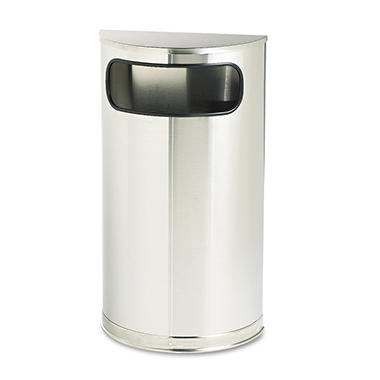 Rubbermaid Commercial - European & Metallic Series Receptacle, Half-Round, 9gal -  Satin Stainless
