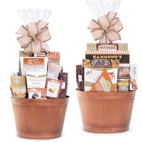 Round Metal Gift Basket with Handles, Bronze or Pewter