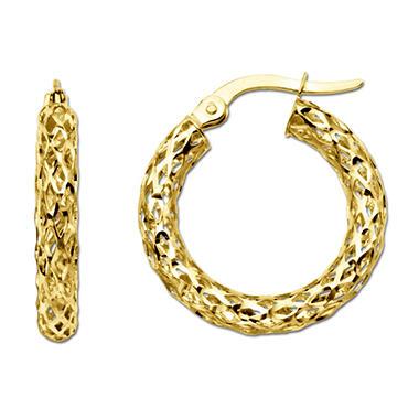3x18 5mm Diamond Cut Glitter Mesh Hoop Earring In 14k Yellow Gold