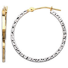 2x25mm Diamond Cut Square Hoop Earring in 14K Yellow Gold