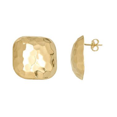 Honeycomb Button Earring in 14K Yellow Gold