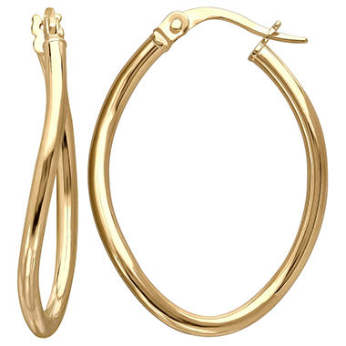 2 5mm Oval Wave Hoop Earring In 14k Yellow Gold Sam S Club