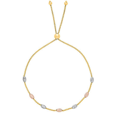 Beaded Bolo Bracelet in 14K Rose, White, and Yellow Gold