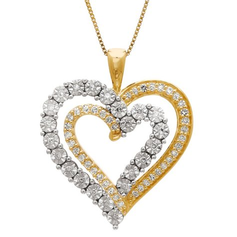 0.31 CT. T.W. Diamond Layered Double-Heart Pendant in 14K Yellow Gold, 18""
