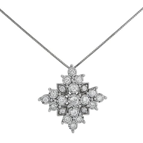 0.47 CT. T.W. Diamond Snowflake Pendant in 14K White Gold