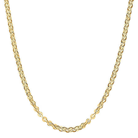 Round Flat Link Chain in 14K Yellow Gold, 18""