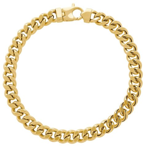 "7.9MM Curb Link Men's Bracelet in 14K Yellow Gold, 9"""