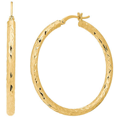 40mm Round Diamond Cut Hoop Earrings In 14k Yellow Gold
