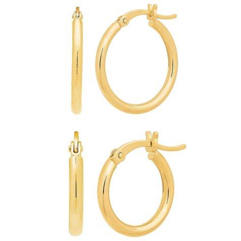 14K Yellow Gold Polished Hoop Set