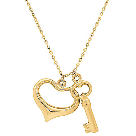 "14K Yellow Gold Heart and Key Charms on 18"" Chain"