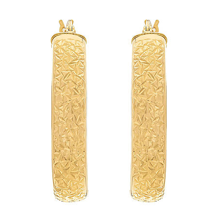 Oval Crystal-Cut Hoop Earrings in 14K Yellow Gold