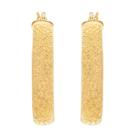 Oval Crystal-Cut Hoop Earrings in 14K Yellow Gold