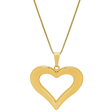 "Open Heart Pendant in 14K Yellow Gold, 18"""