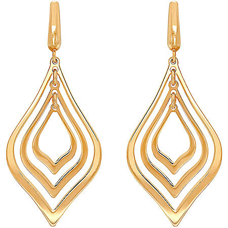 Pear Orbital Earrings in 14K Yellow Gold