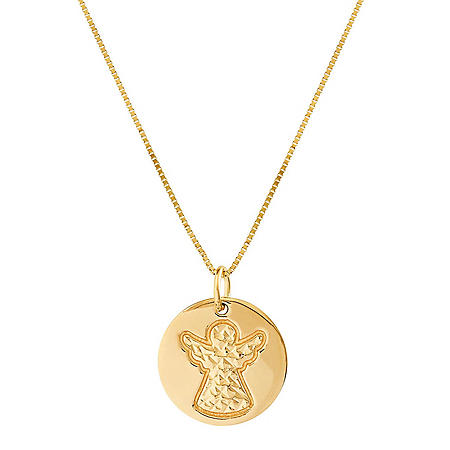 Diamond Cut Angel Pendant in 14K Yellow Gold