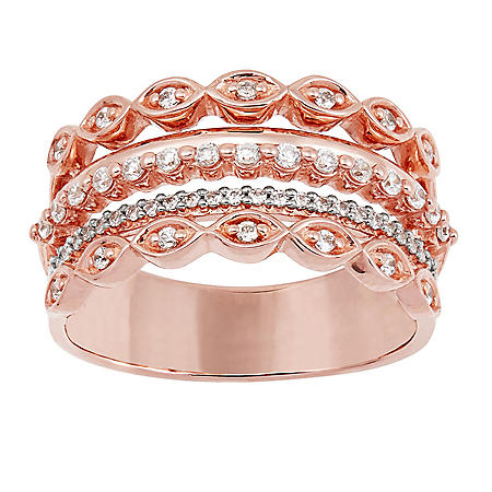 0.31 CT. T.W. Multi Row Diamond Band Ring in 14K Rose Gold