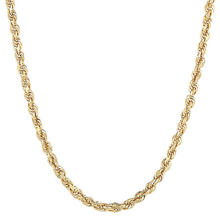 14K Yellow Gold 3.00-3.20MM Solid Rope Chain